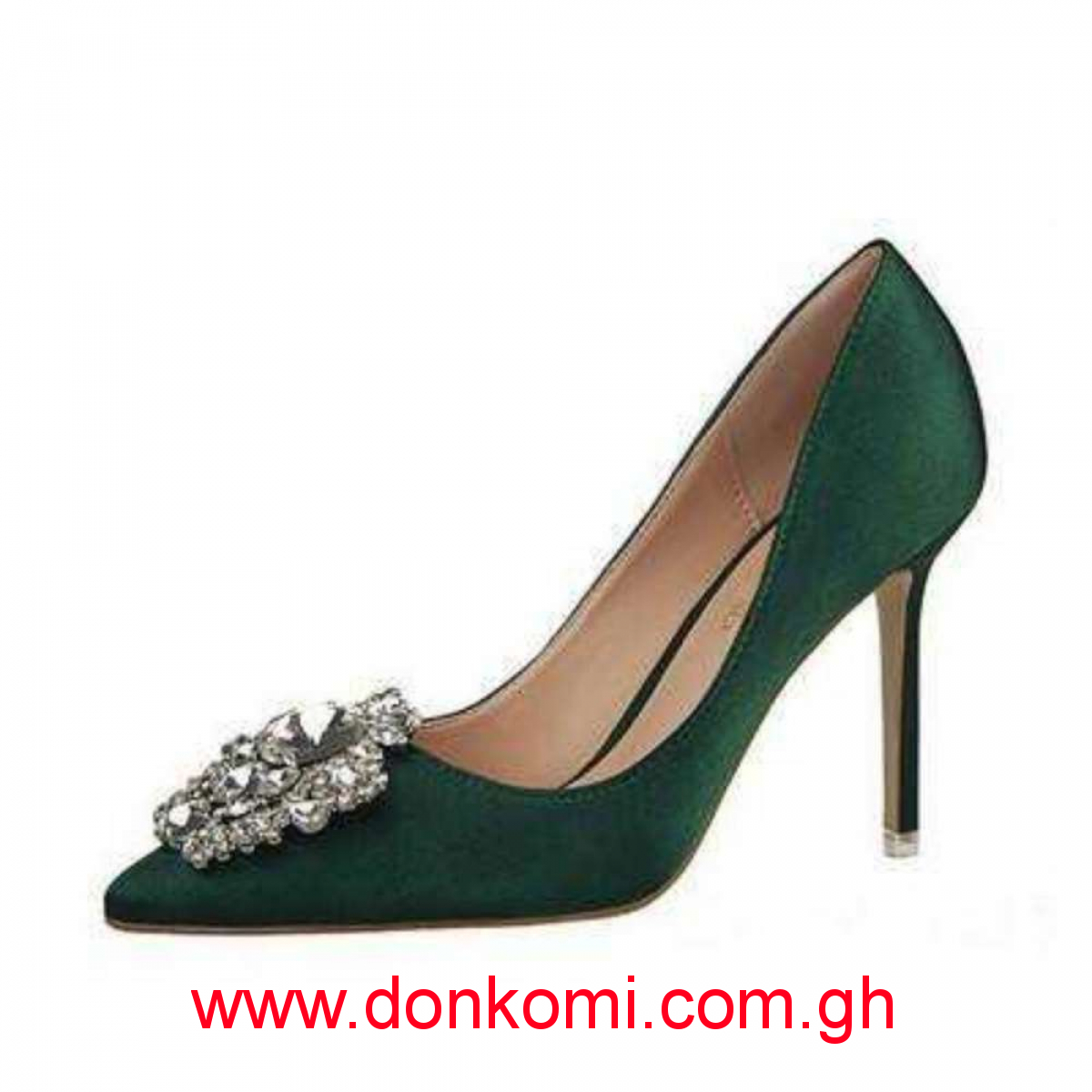 Emerald green and stones shoe