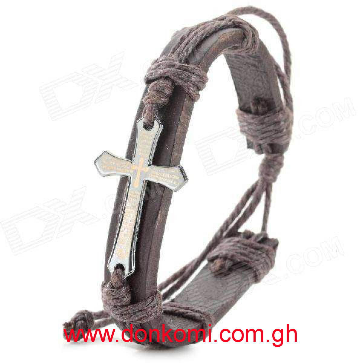 Stylish Bible Cross Style Zinc Alloy + Split Leather Bracelet - Brown