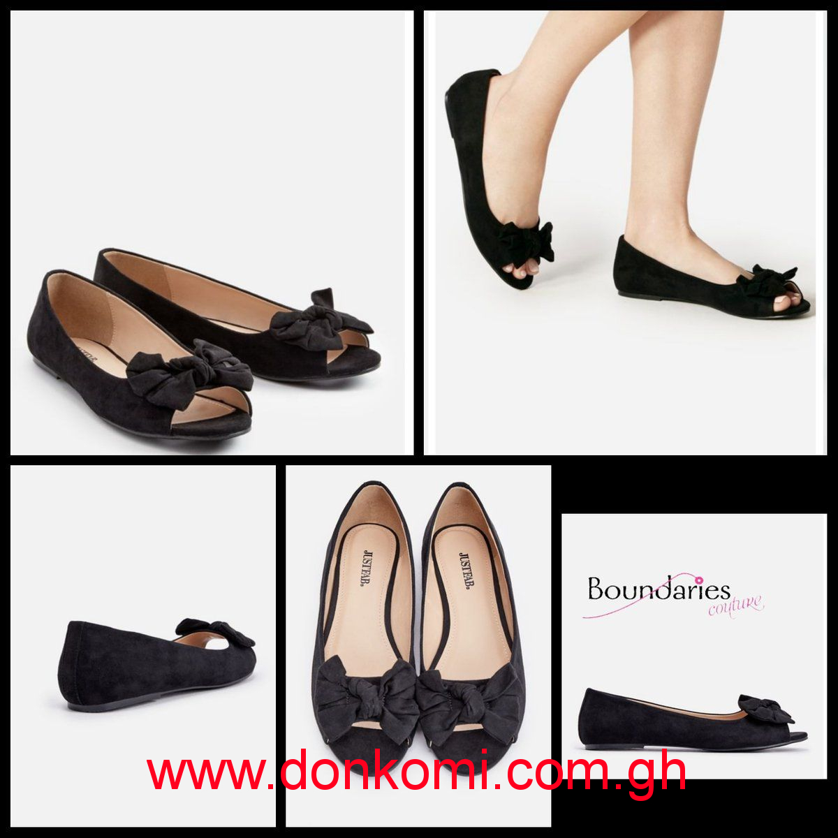 BLACK DARCIA OPEN TOE FLAT SHOES