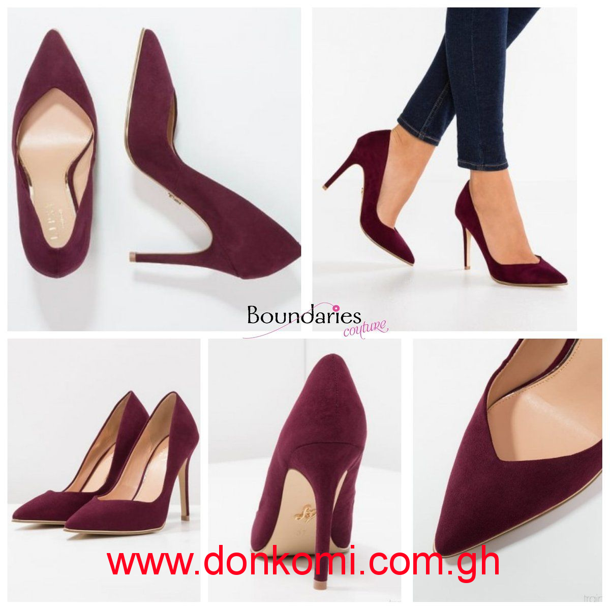 BURGUNDY POINTED COURT SHOES