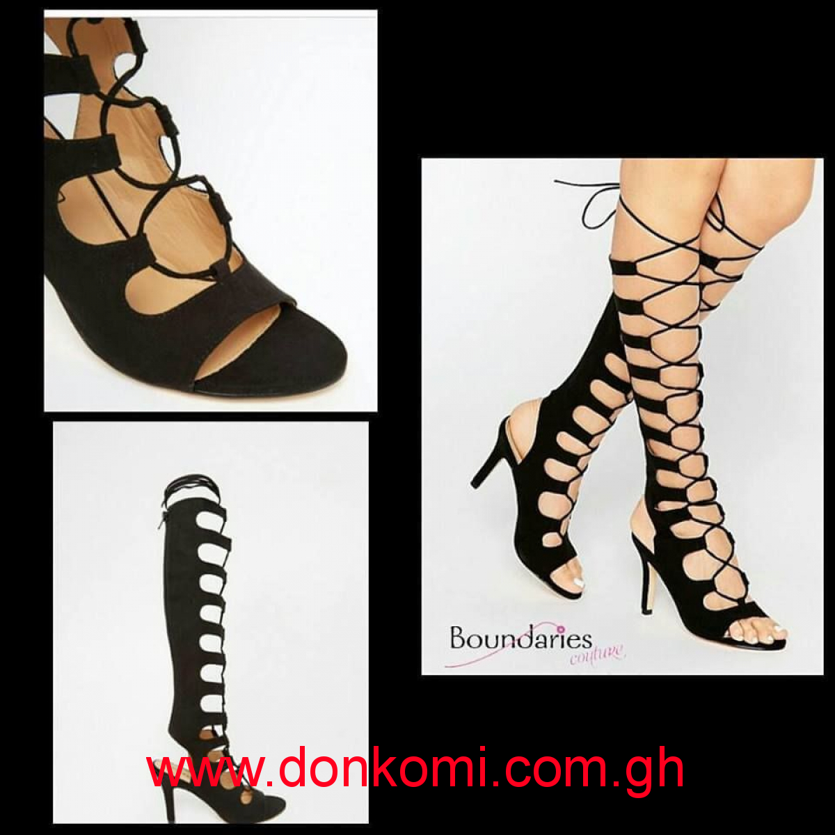 BLACK LACE UP GHILLE SANDAL HEELS