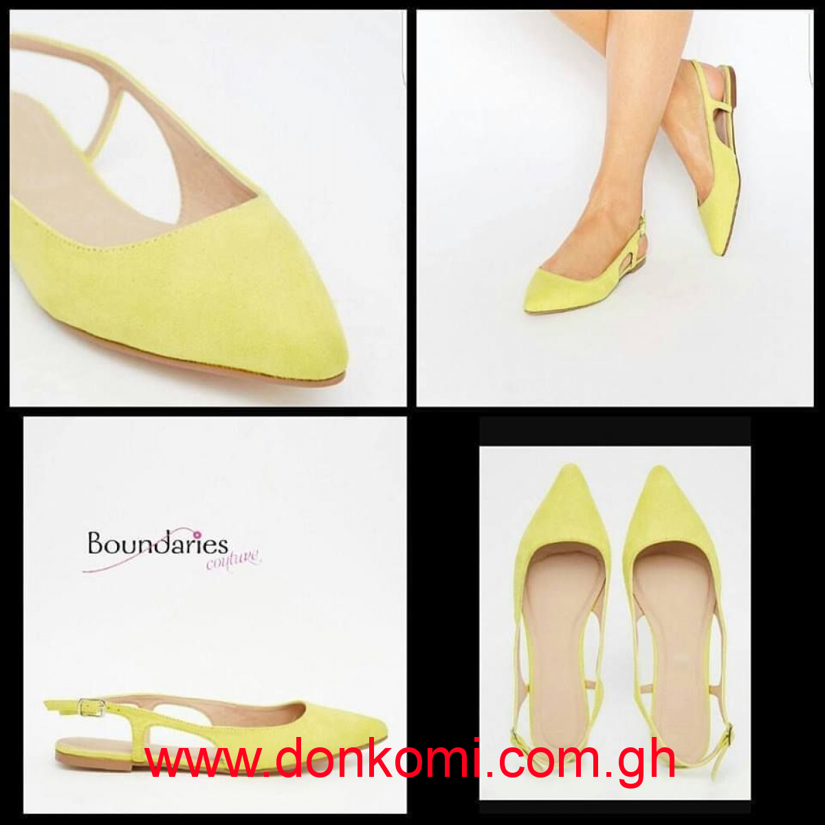 CHARTREUSE POINTED SLING BACK BALLET FLATS