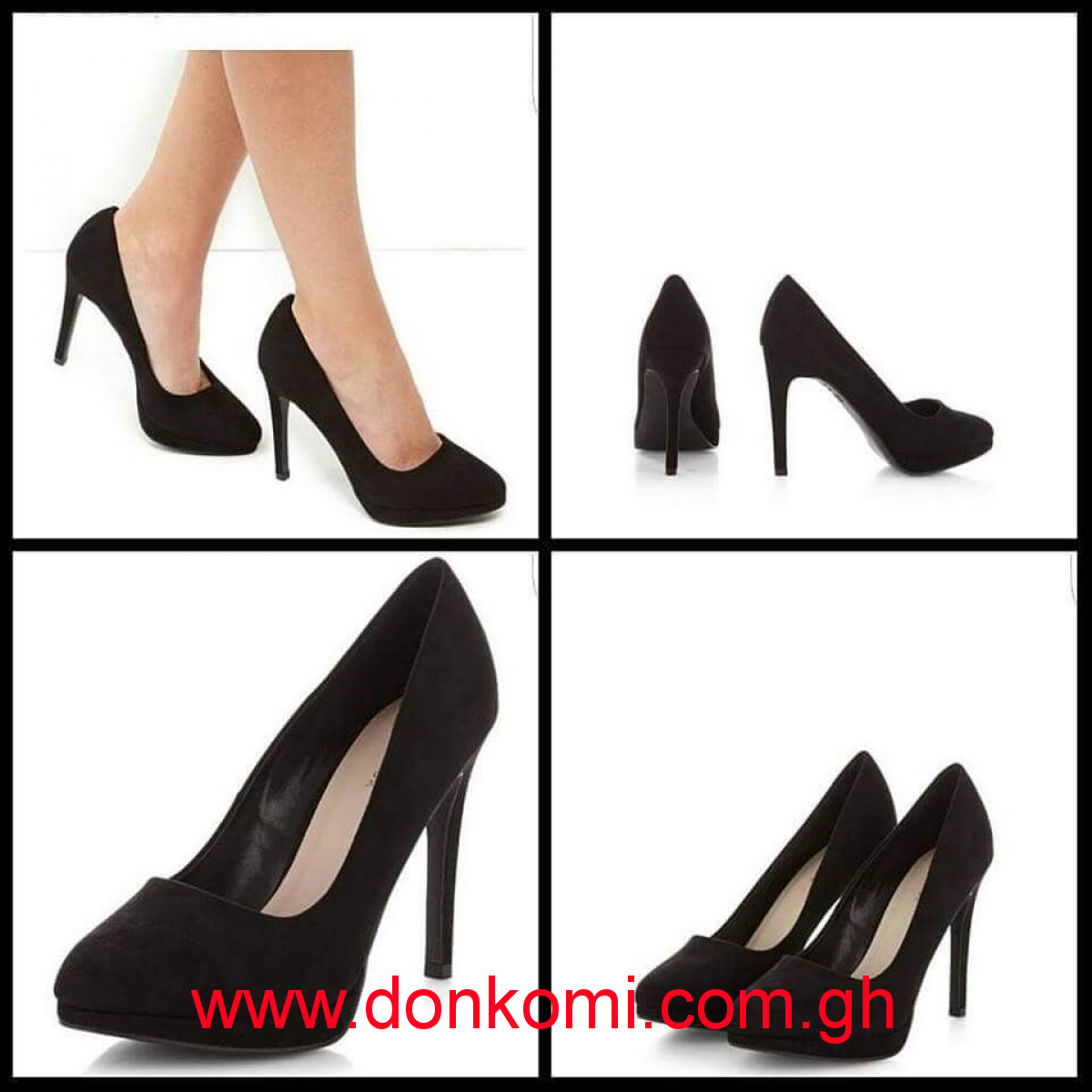 NEW LOOK BLACK SUEDETTE COURT HEELS
