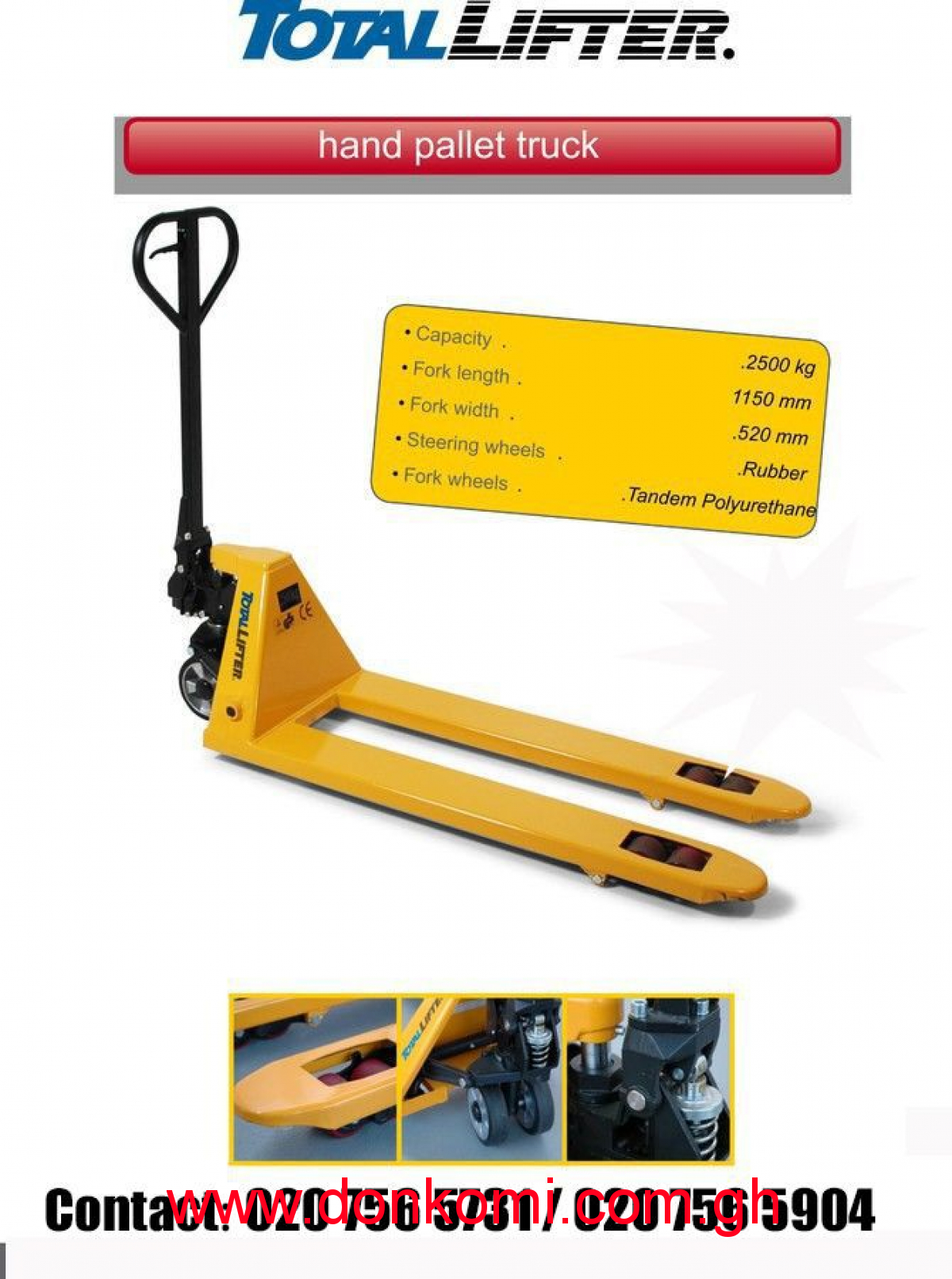 2500KG TOTAL LIFTER HAND PALLET JACK FOR SALE.