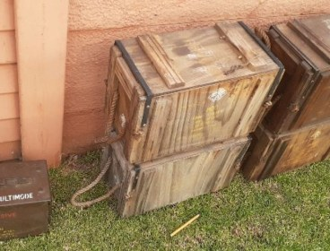 Old ammo boxes and crates