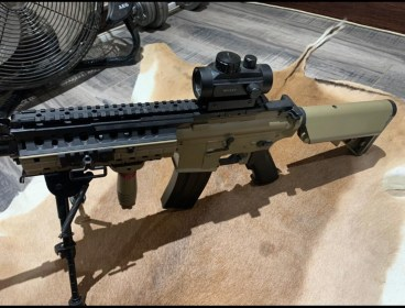 M15 with pop up sights bipod and red dot