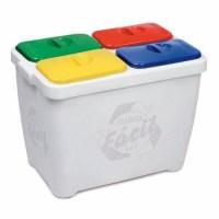 Lixeira Recicla Fácil 4x1 Branca Seletiva Reciclagem