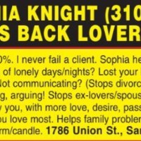 CALL SOPHIA KNIGHT (310) 204-3773