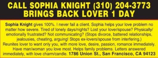 CALL SOPHIA KNIGHT (310) 204-3773