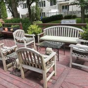 Five Piece Teak Furniture with Cushions For Sale