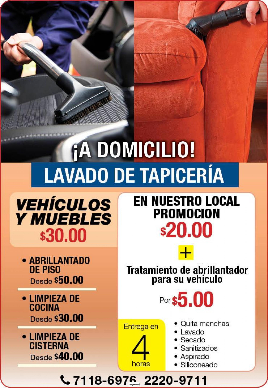 LAVADO DE TAPICERIA A DOMICILIO!!!