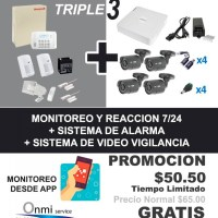 Sistema de alarma Básica + Monitoreo 7/24 con Reacción