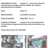 VENTA PUBLICA SUBASTA DE CASA EN COL. EL ROBLE