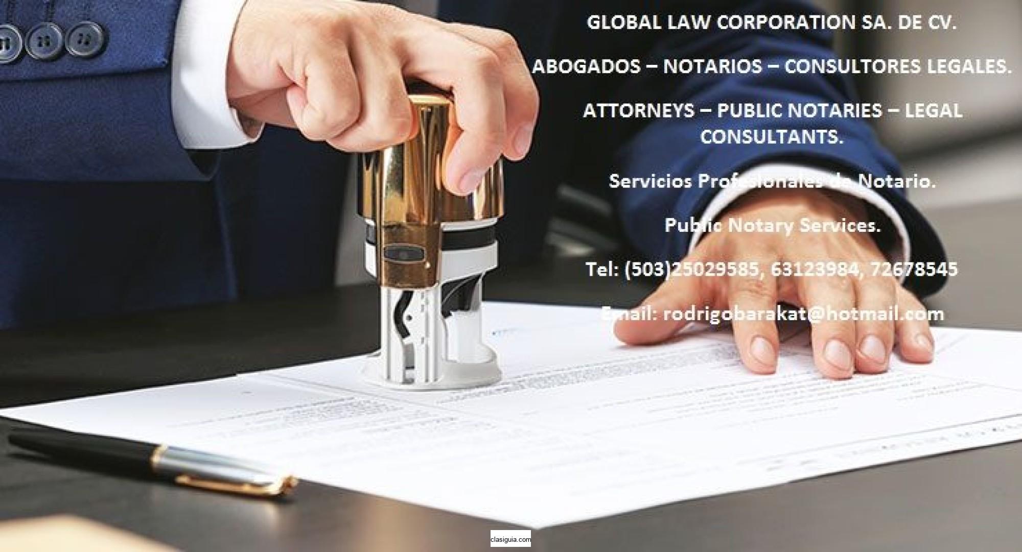 Abogados, Notarios, & Consultores Legales. Attorneys, Public Notaries, & Legal Consultants.