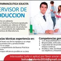 INDUSTRIA FARMACÉUTICA SOLICITA SUPERVISOR DE PRODUCCIÓN