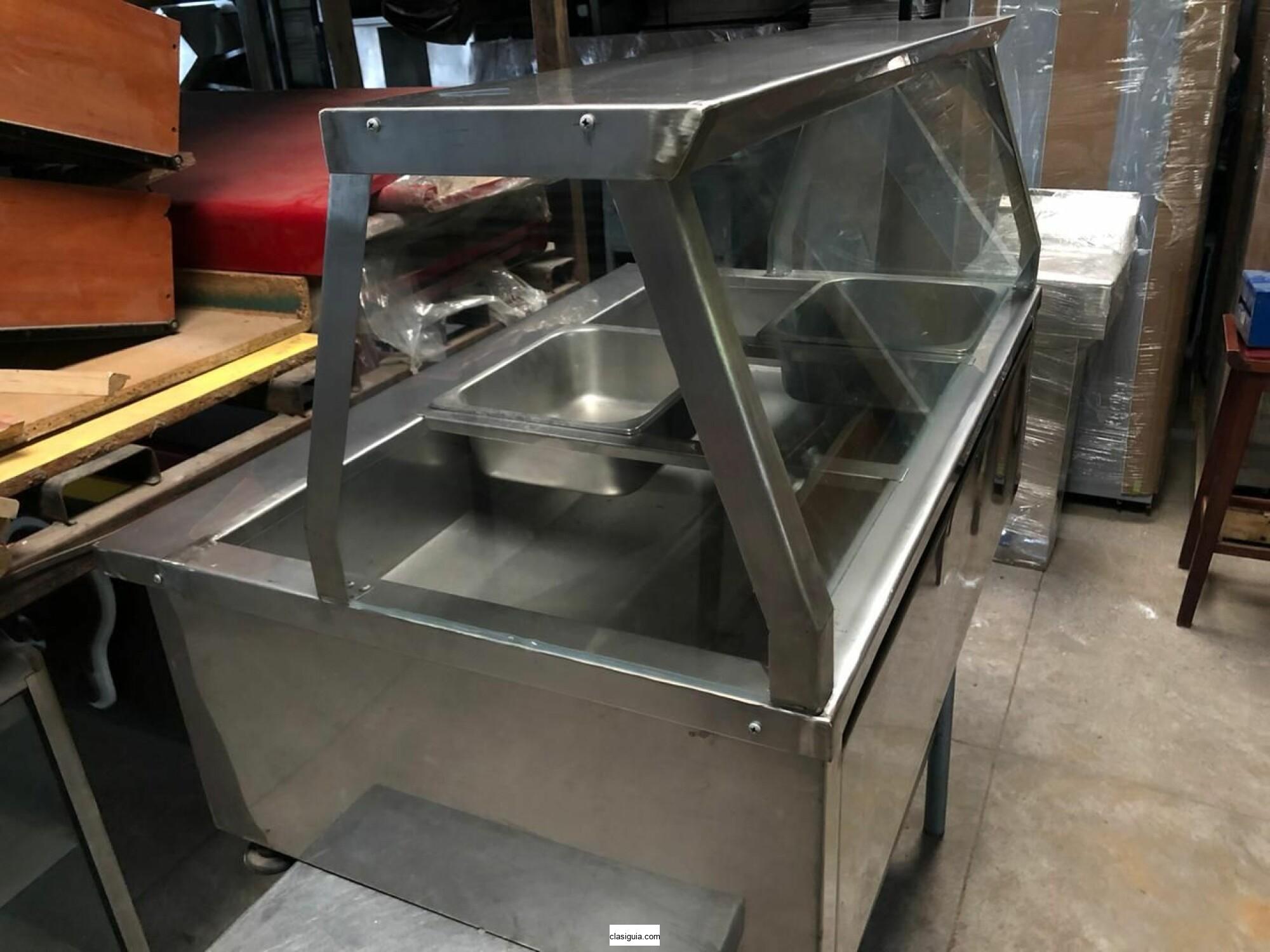 Mesa termica de 3 bandejas en acero inoxidable 304 (grado alimenticio)