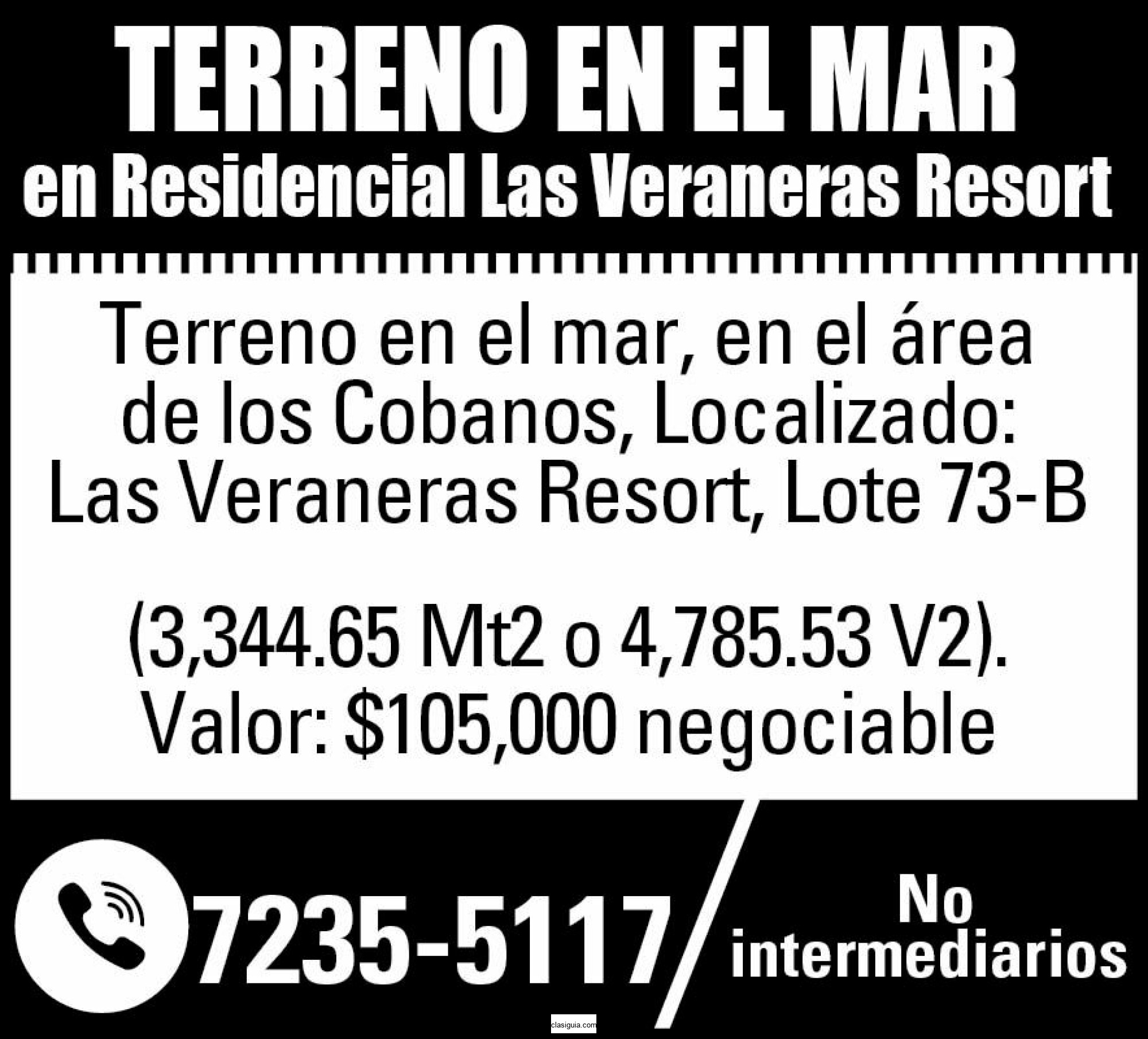 TERRENO EN EL MAR VERANERAS RESORT