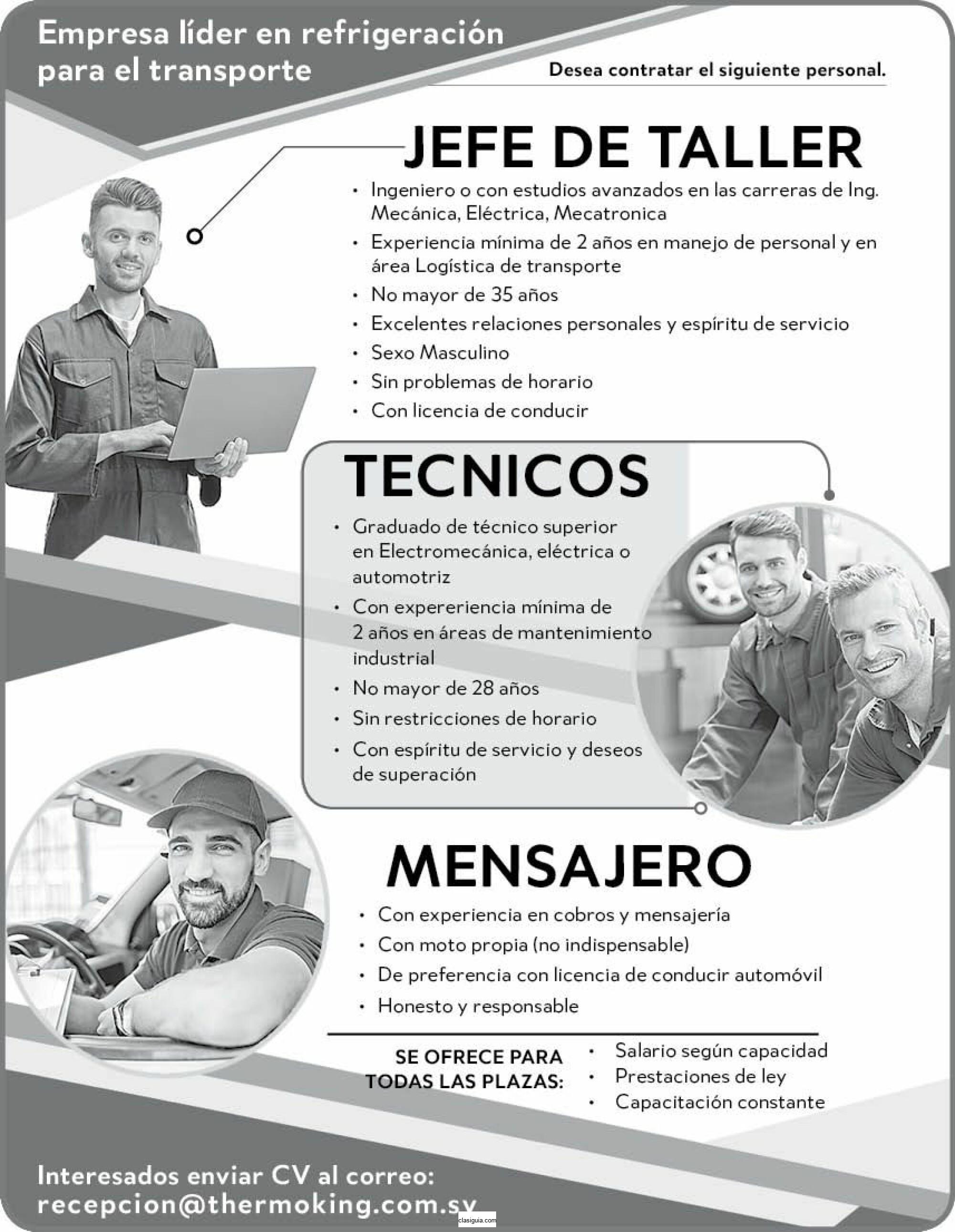 JEFE DE TALLER/ TECNICOS / MENSAJEROS