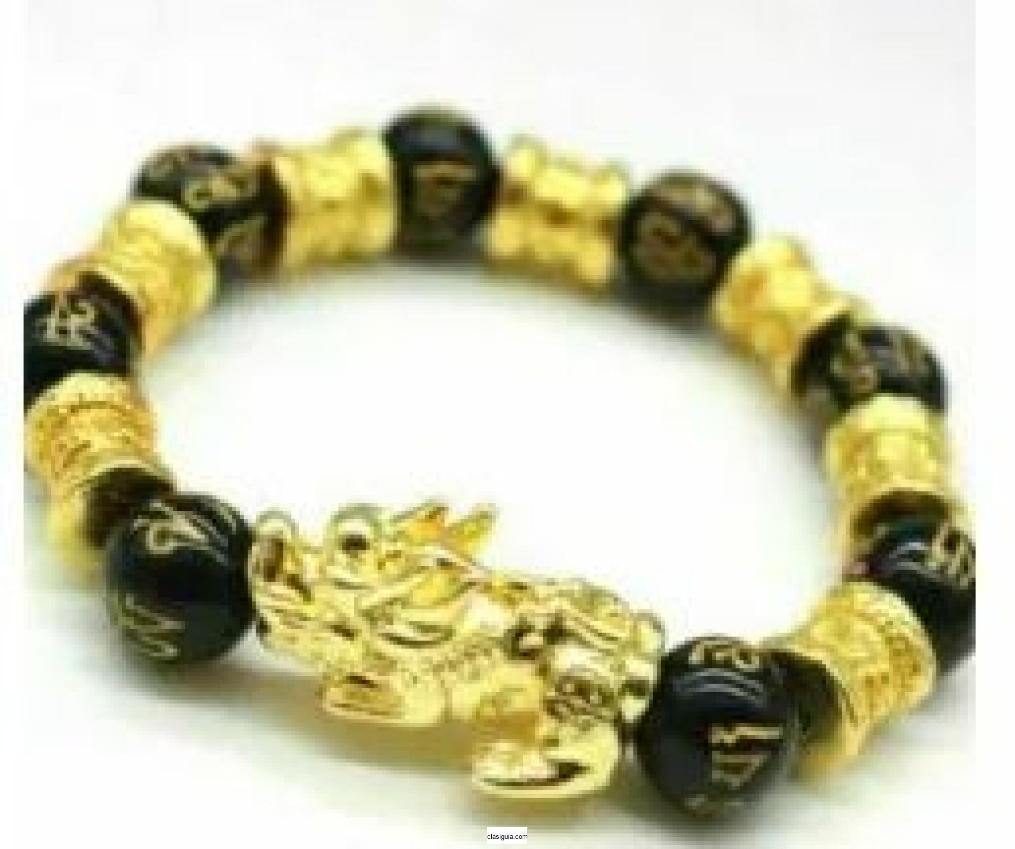 Pulsera de riqueza de aleación de obsidiana negra Feng Shui para regalo de joyería de la suerte de Pixiu dorado