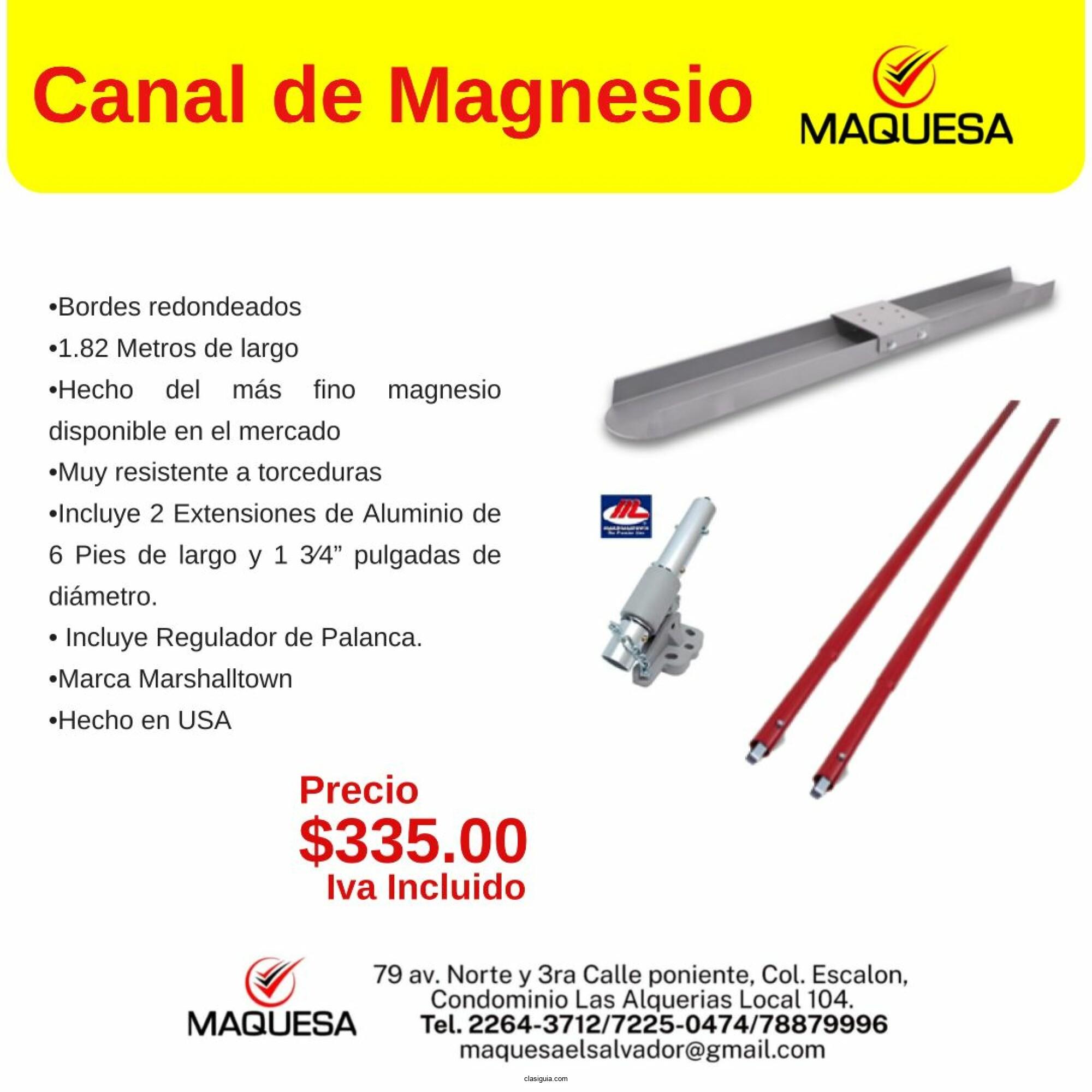 Canal de magnesio para concreto
