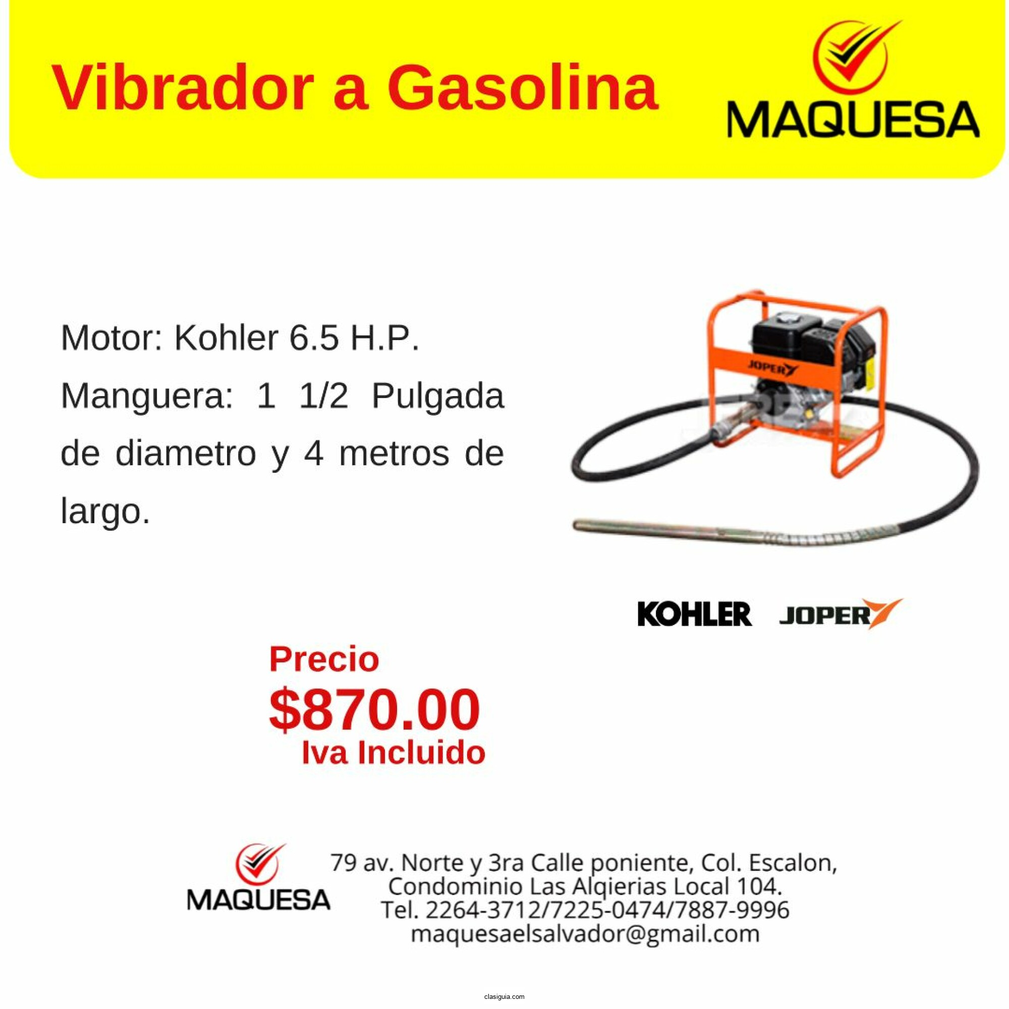 Vibrador A Gasolina  Maquesa El Salvador