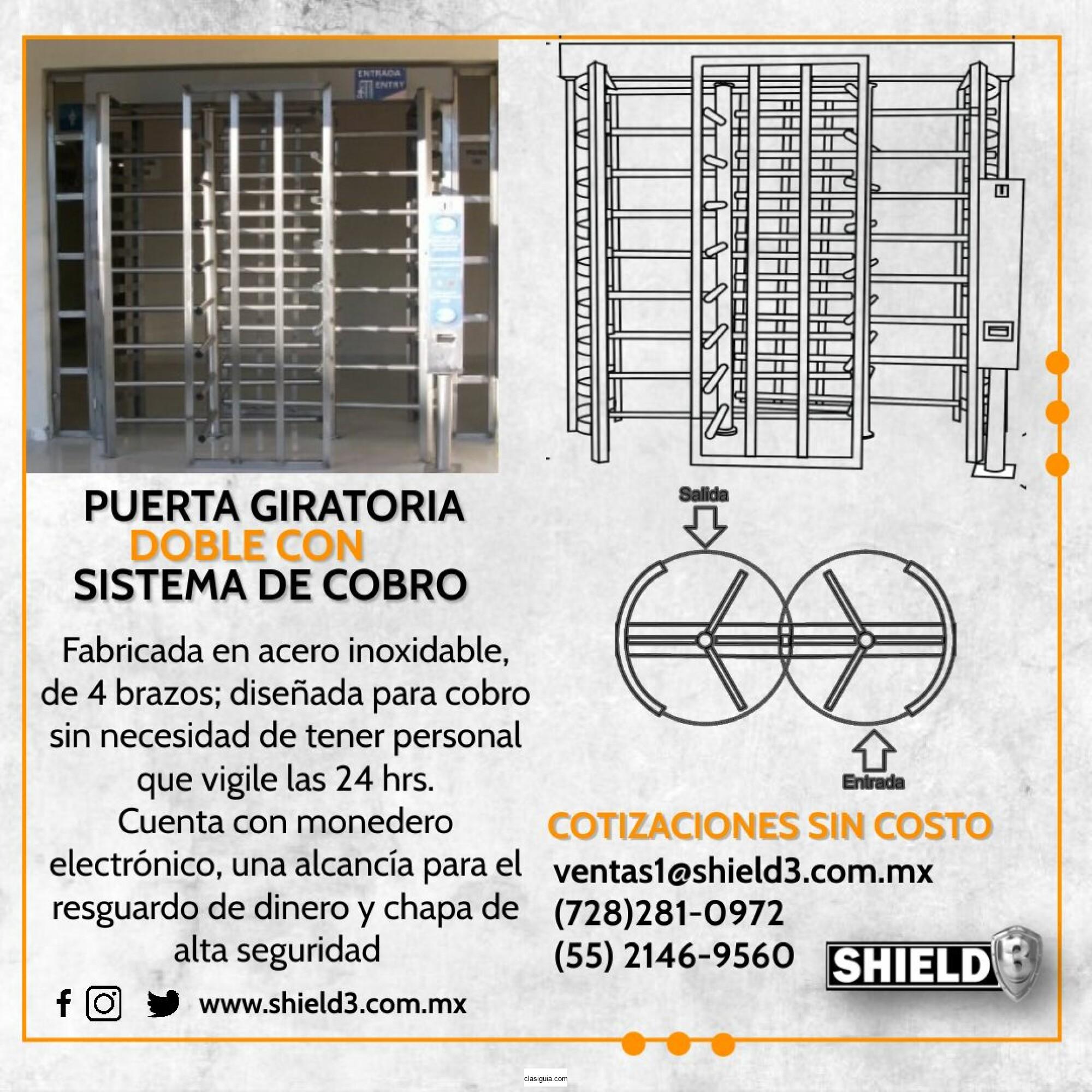 Puerta giratoria doble con sistema de cobro
