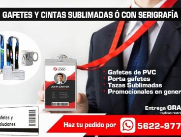 GAFETES DE PVC, CINTAS SUBLIMADAS Y SERIGRAFIA.