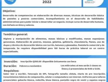"""Becas disponibles """"Repostería"""" Junkacentro ciclo 2022"""