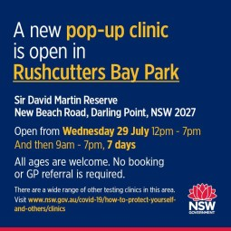 COVID POP UP CLINIC NOW IN RUSHCUTTERS BAY