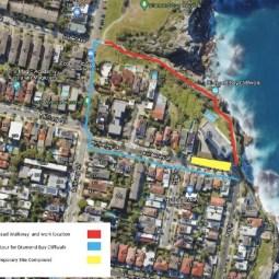 Wastewater repair work along Diamond Bay Cliff walkway