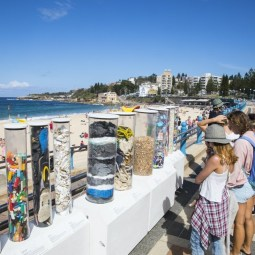 Plastic Ecology Plinths Display at Coogee Beach