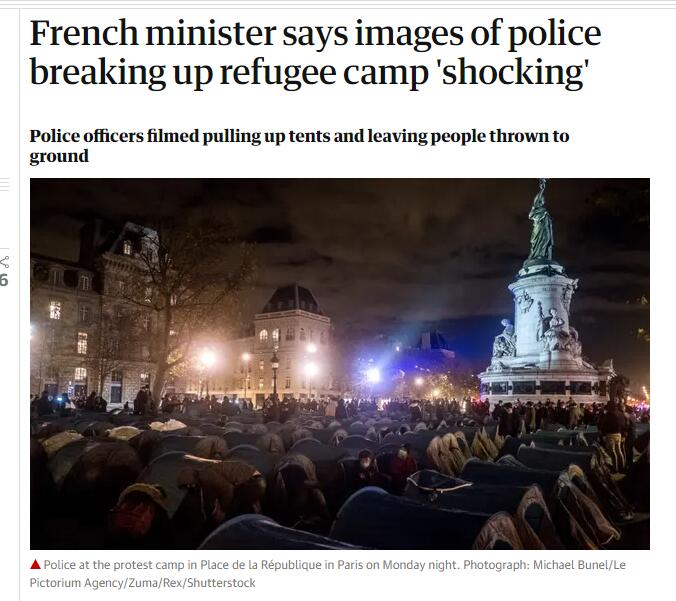 "Refugees camp in Paris's Place de la Republique, police fired tear gas to ""force demolition"""