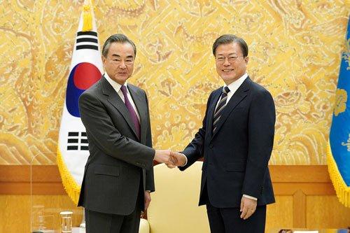 South Korean President Moon Jae-in met with Wang Yi