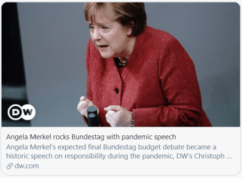 """German Iron Lady rarely shed tears """"This is Merkel's most touching speech."""""""