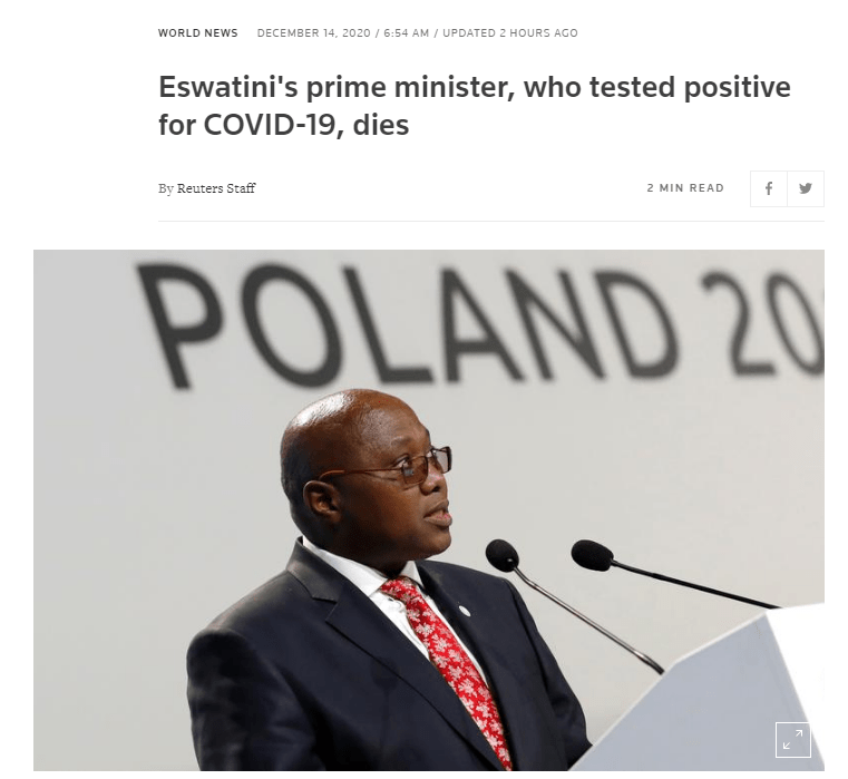Eswatini's Prime Minister died of COVID-19