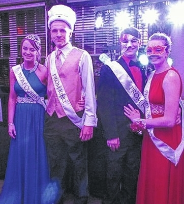 prom court with sashes and crowns