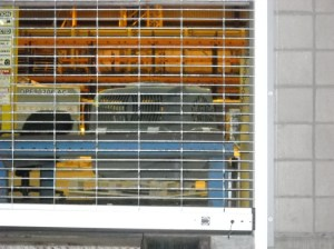 Crate as seen from outside the loading dock