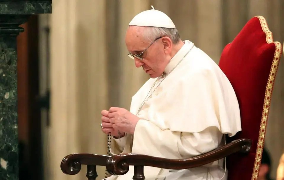 Pope Francis Saying the Rosary