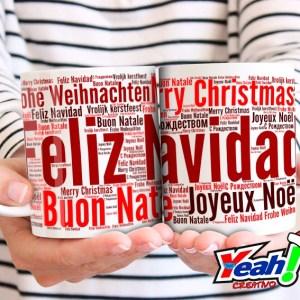 Taza feliz navidad en varios idiomas.