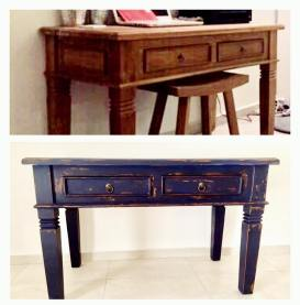 Desk: old blue patine