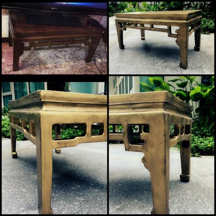 Coffee table: golden patine