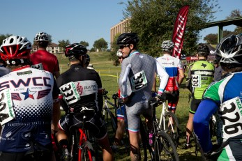 Wes at the start of the Master's Races, chats up an old collegiate cycling teammate.