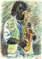 Sax Player 8.5x11 / 1993