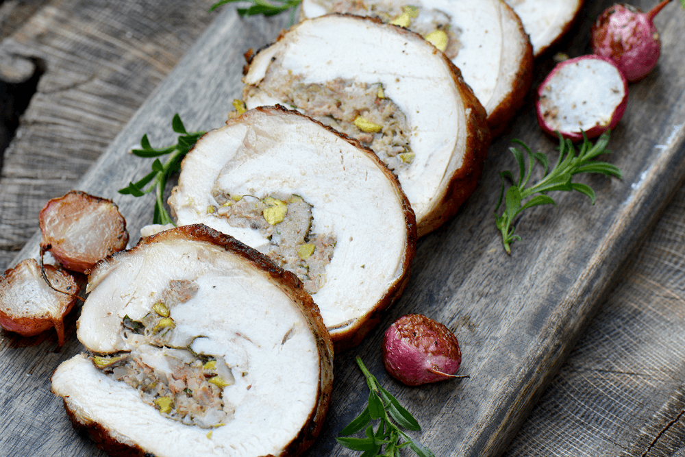 Sausage and Pistachio Stuffed Turkey Breast Roast
