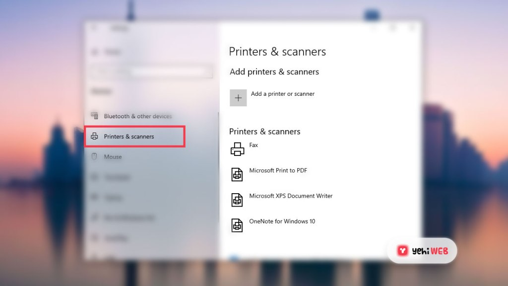 Printer and Scanners Setting - Yehiweb