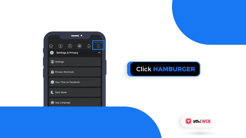 click on hamgurger ios facebook yehiweb