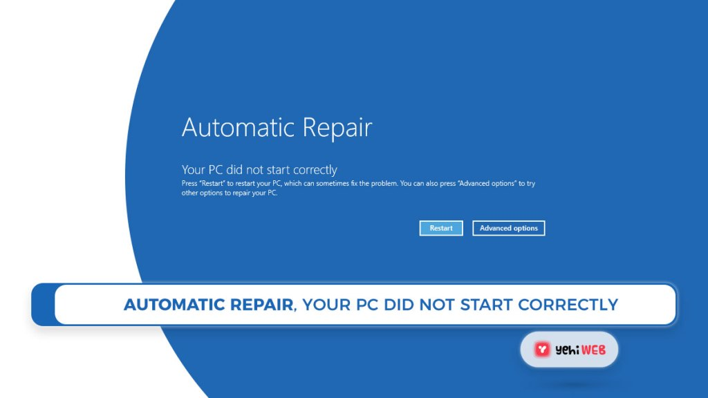 Automatic Repair, Your PC did not start correctly Yehiweb
