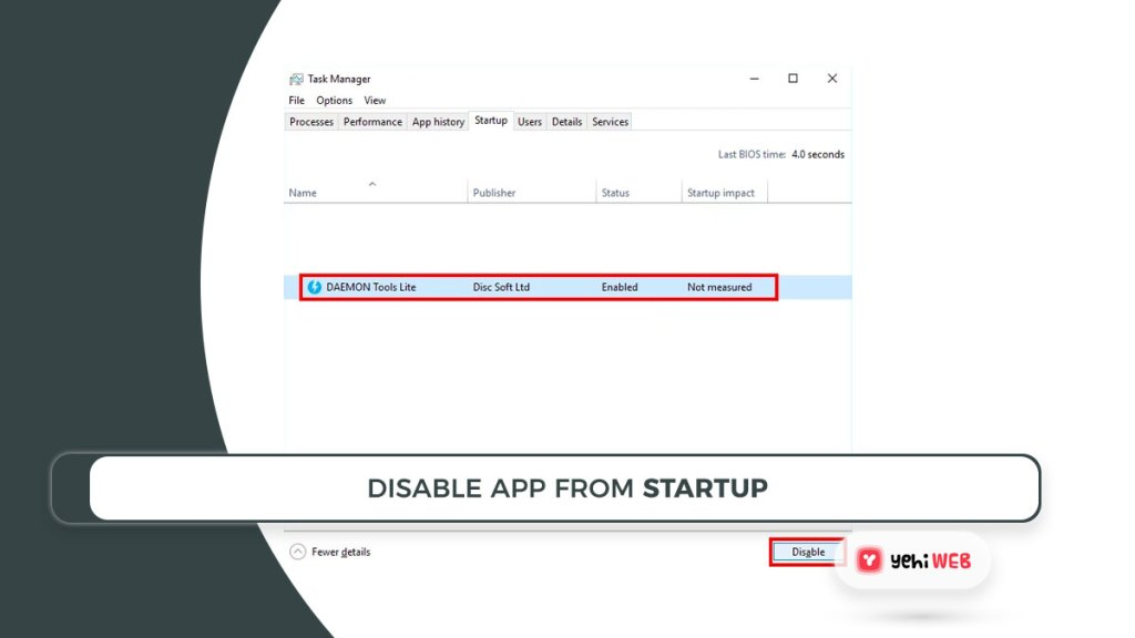 disable app from startup yehiweb