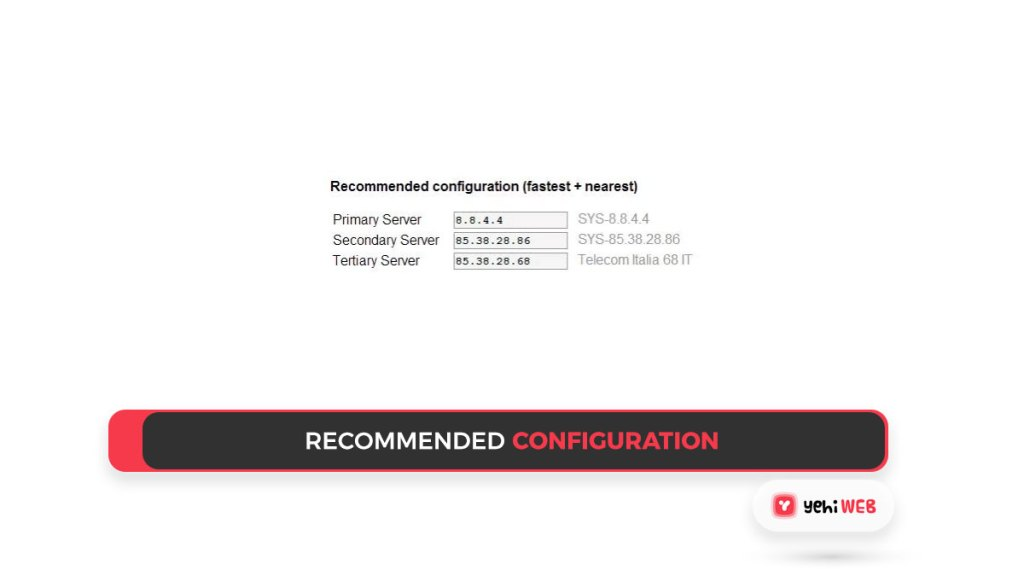 recommended configuration Yehiweb
