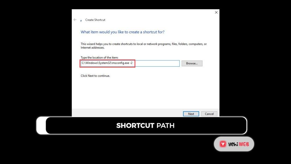 shortcut path yehiweb